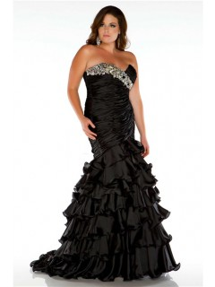 Formal Mermaid Strapless Long Black Ruffles Beaded Plus Size Evening Prom Dress
