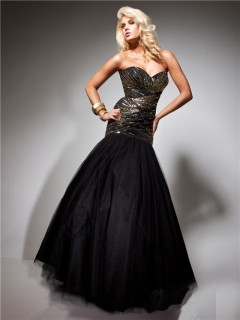 Formal Mermaid Sweetheart Long Gold Beading Black Tulle Evening Prom Dress