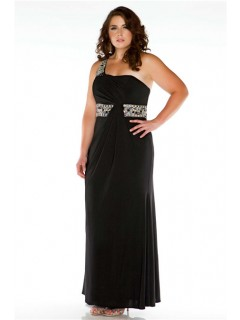 Formal Sheath One Shoulder Long Black Jersey Beaded Plus Size Evening Prom Dress