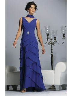 Formal Sheath V Neck Long Blue Chiffon Tiered MOB Women Evening Wear Dress