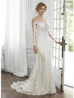 Glamour Mermaid Illusion Neckline V Back Long Sleeve Tulle Lace Wedding Dress