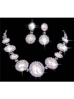 Gorgeous Alloy Pearl Wedding Necklace And Earrings Jewelry Set