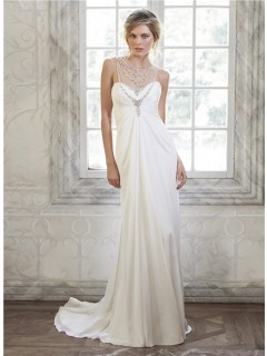 Gorgeous Illusion Neckline Empire Waist Chiffon Tulle Crystal Wedding Dress