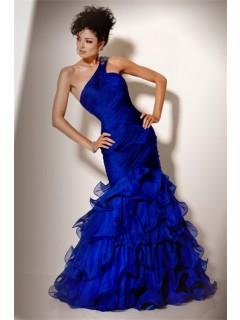 Gorgeous Mermaid One Shoulder Long Royal Blue Chiffon Ruffle Evening Prom Dress