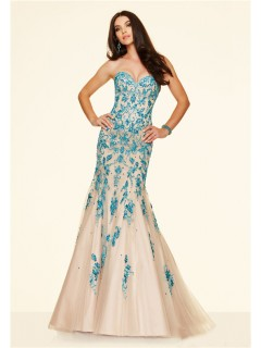 Gorgeous Mermaid Strapless Corset Champagne Tulle Blue Embroidery Beaded Prom Dress
