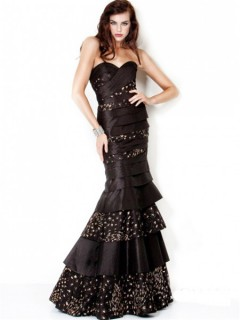 Gorgeous Mermaid Strapless Long Black Tiered Taffeta Gold Beaded Evening Dress