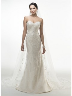 Gorgeous Mermaid Strapless Sweetheart Lace Beaded Wedding Dress