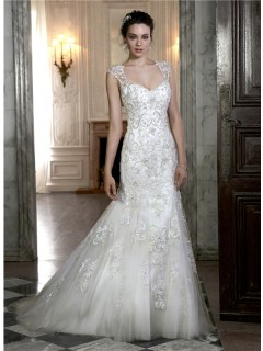 Gorgeous Mermaid Sweetheart Open Back Tulle Applique Beaded Wedding Dress With Straps