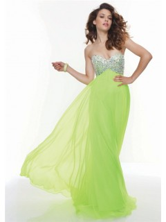 Gorgeous sweetheart empire floor length lime green chiffon prom dress beaded