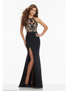 Halter High Slit Long Black Jersey Tulle Beaded Prom Dress Criss Cross Straps