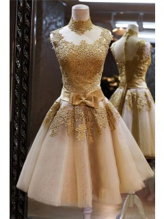 High Neck See Through Short Gold Lace Tulle Prom Dress With Bow Sash