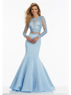 Mermaid High Neck Open Back Long Sleeve Light Sky Blue Satin Lace Prom Dress