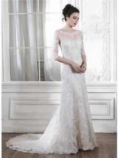 Mermaid Illusion Neckine V Back 3 4 Sleeve Lace Wedding Dress