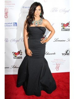 Mermaid Long Black kim kardashian Inspired Red Carpet Dress