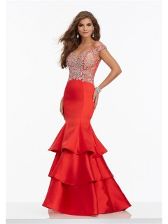 Mermaid Off The Shoulder Open Back Red Satin Rufffle Tiered Prom Dress