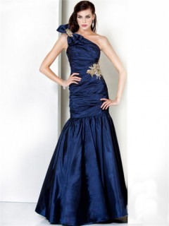 Mermaid One Shoulder Long Navy Blue Ruched Taffeta Evening Dress With Bow