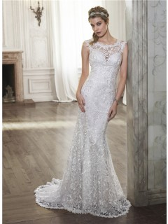 Mermaid Scoop Neck See Through Back Venice Lace Wedding Dress
