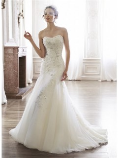 Mermaid Strapless Satin Organza Embroidery Beaded Crystal Wedding Dress