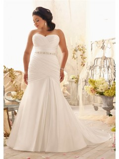 Mermaid Sweetheart Corset Back Ruched Satin Plus Size Wedding Dress With Pearls Sash