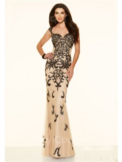Mermaid Sweetheart Illusion Back Champagne Tulle Black Beaded Prom Dress With Straps