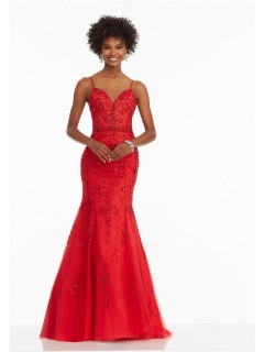 Mermaid Sweetheart Low Back Red Satin Tulle Beaded Prom Dress With Straps