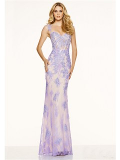 Mermaid Sweetheart Open Back Long Lilac Lace Beaded Evening Prom Dress
