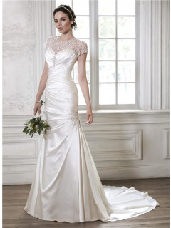 Mermaid Sweetheart Ruched Satin Wedding Dress With Beaded Tulle Jacket