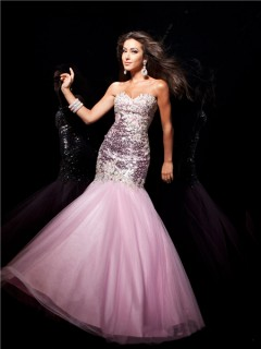 Mermaid/ Trumpet Sweetheart Long Pink Sequin Tulle Prom Dress With Beading