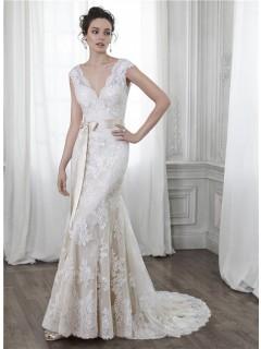 Mermaid V Neck Open Back Cap Sleeve Vintage Lace Wedding Dress Bow Sash