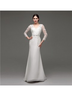 Mermaid V Neck Sheer Back Long Sleeve Organza Lace Wedding Dress With Sash