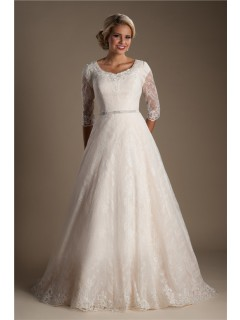 Modest A Line Scoop Neck Three Quarter Sleeve Lace Wedding Dress With Sash