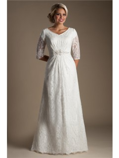 Modest A Line V Neck Three Quarter Sleeve Lace Beaded Wedding Dress