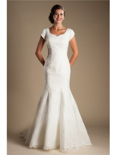 Modest Mermaid Sweetheart Cap Sleeve Lace Wedding Dress With Bow Sash