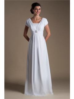Modest Sheath Cap Sleeve Corset Back Chiffon Beaach Wedding Dress