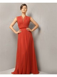 Modest Simple A Line Princess Long Coral Chiffon Evening Wear Dress With Belt