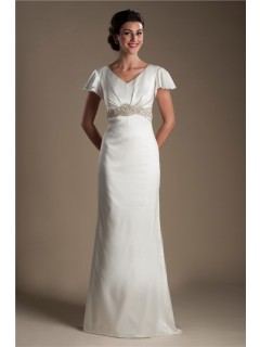 Modest V Neck Flared Cap Sleeve Satin Beaded Wedding Dress With Buttons