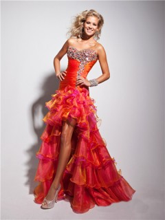New High Low Sweetheart Long Orange Multi Color Prom Dress With Beading Ruffles