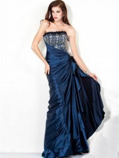 Perfect A Line Strapless Long Navy Blue Ruched Taffeta Beaded Evening Wear Dress