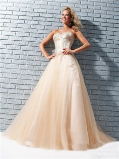 Pretty A Line Princess Sweetheart Long Peach Sequin Tulle Evening Prom Dress