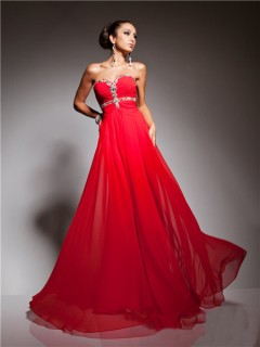 Pretty A Line Princess Sweetheart Long Red Chiffon Beading Evening Prom Dress