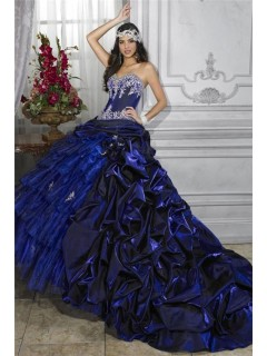 Pretty Ball Gown Royal Blue Taffeta Quinceanera Dress With Embroidered Beading