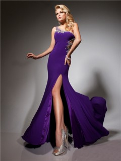 Pretty One Shoulder Long Purple Chiffon Evening Prom Dress With Beading Straps