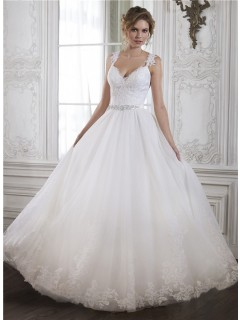 Princess A Line Sweetheart Low Back Tulle Lace Wedding Dress With Crystals Sash