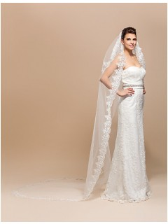 Princess Two Layers Tulle Lace Cathedral Wedding Bridal Veil