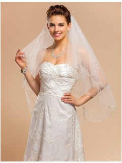 Princess Two Tier Tulle Wedding Bridal Veil With Beaded Crystals