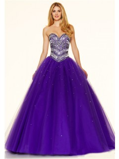 Puffy Ball Gown Strapless Purple Tulle Beaded Sparkly Prom Dress Corset Back