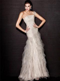 Romantic Mermaid One Shoulder Long Cream Tulle Evening Wear Dress