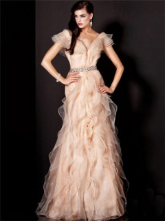 Royal A Line Princess Cap Sleeve Long Peach Organza Ruffles Evening Prom Dress