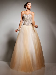 Royal A Line Princess Sweetheart Floor Length Champagne Tulle Beaded Prom Dress