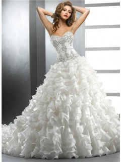 Royal Ball Gown Sweetheart Ivory Organza Wedding dress With Beading Embroidery Ruffles